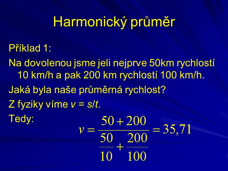 Příklad 1: Na dovolenou jsme jeli nejprve 50km rychlostí 10 km/h a pak 200 km rychlostí 100 km/h. Jaká byla naše průměrná rychlost? Z fyziky víme v =