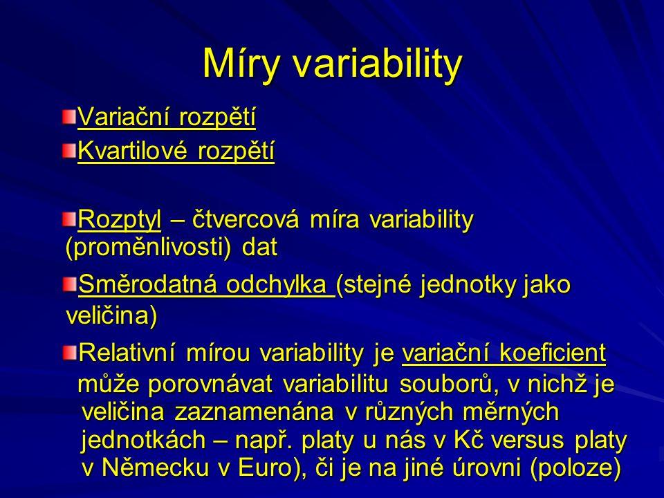 Míry variability Variační rozpětí Kvartilové rozpětí Rozptyl – čtvercová míra variability (proměnlivosti) dat může porovnávat variabilitu souborů, v nichž je veličina zaznamenána v různých měrných jednotkách – např.