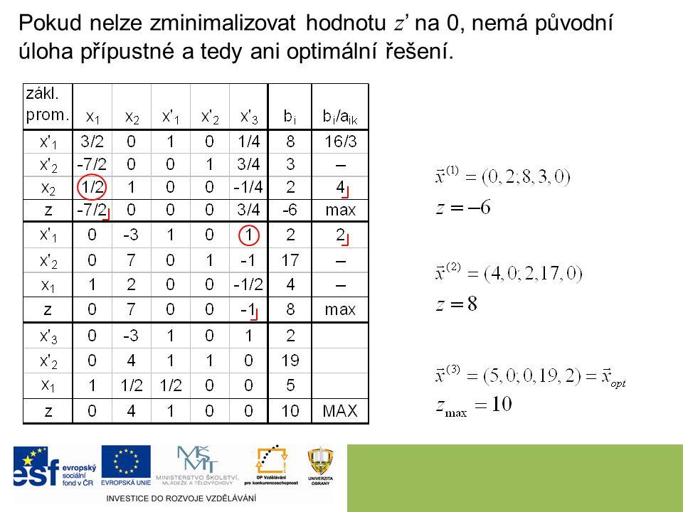 Pokud nelze zminimalizovat hodnotu z ' na 0, nemá původní úloha přípustné a tedy ani optimální řešení.