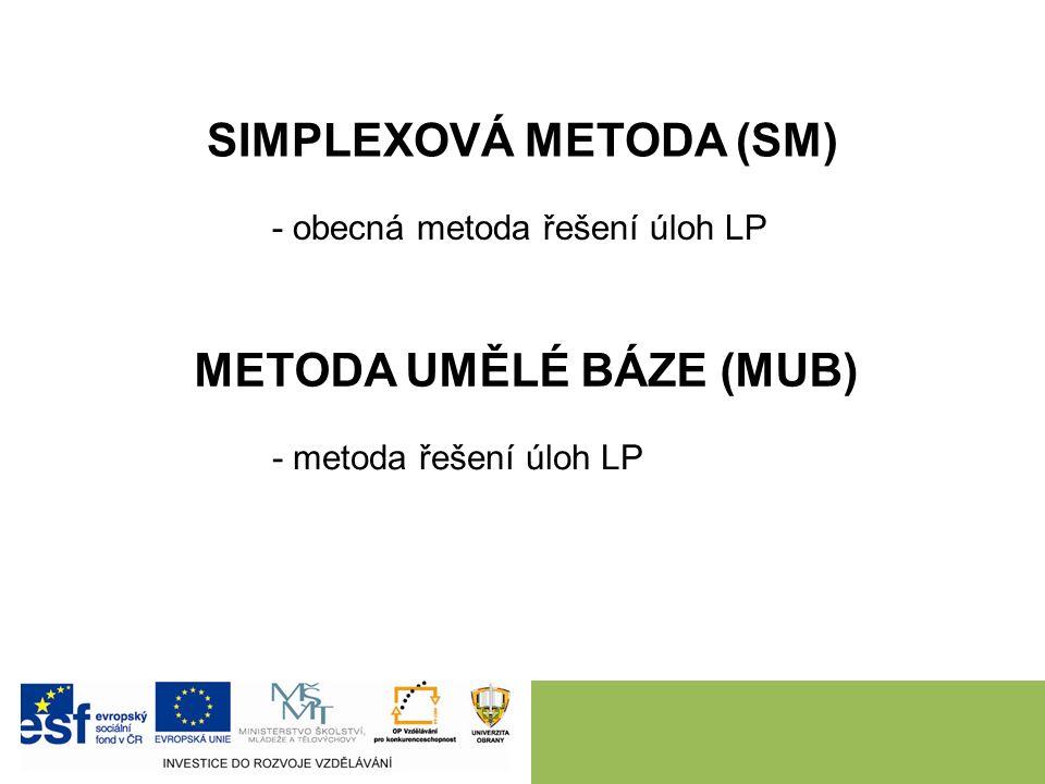 SIMPLEXOVÁ METODA (SM) - obecná metoda řešení úloh LP METODA UMĚLÉ BÁZE (MUB) - metoda řešení úloh LP