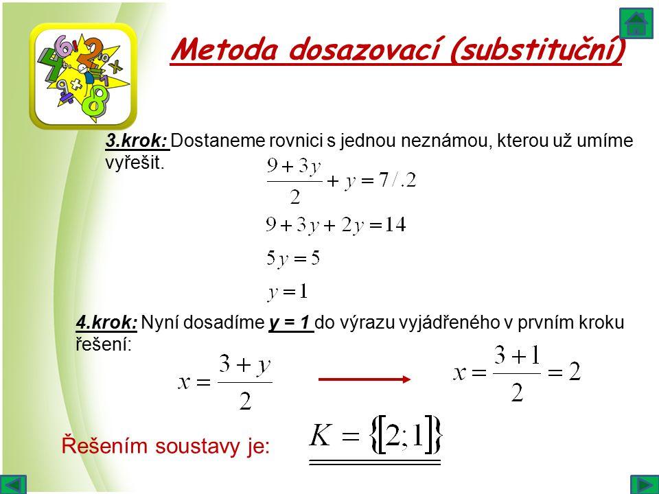 Metoda dosazovací (substituční) 3.krok: Dostaneme rovnici s jednou neznámou, kterou už umíme vyřešit. 4.krok: Nyní dosadíme y = 1 do výrazu vyjádřenéh