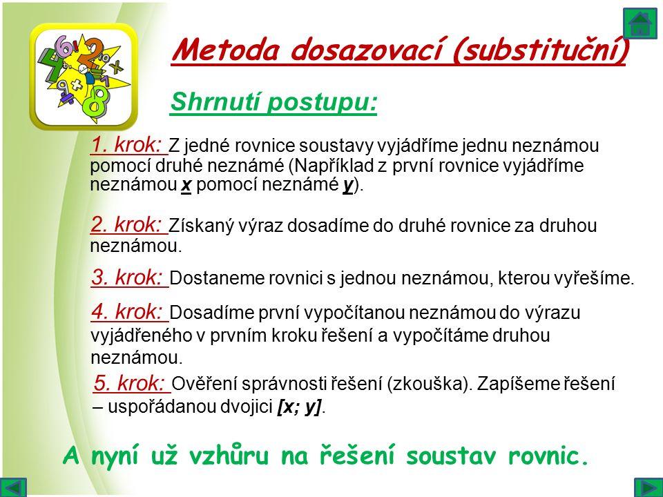 Metoda dosazovací (substituční) Shrnutí postupu: 1.
