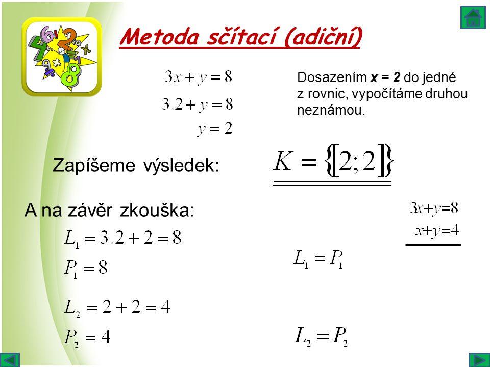 Metoda sčítací (adiční) Dosazením x = 2 do jedné z rovnic, vypočítáme druhou neznámou. Zapíšeme výsledek: A na závěr zkouška: