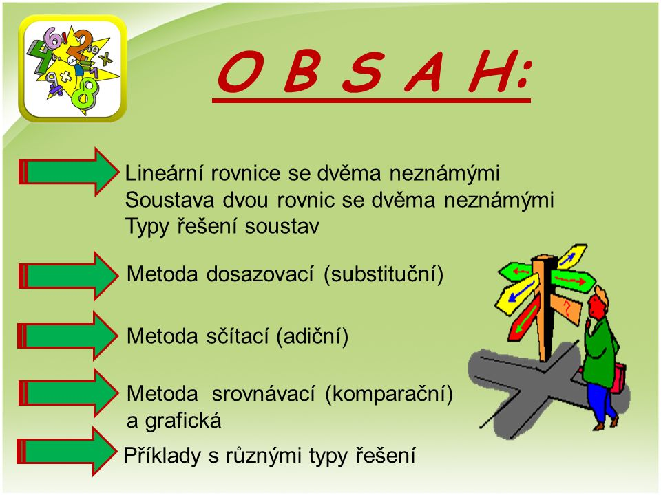 O B S A H: Lineární rovnice se dvěma neznámými Soustava dvou rovnic se dvěma neznámými Typy řešení soustav Metoda dosazovací (substituční) Metoda sčítací (adiční) Metoda srovnávací (komparační) a grafická Příklady s různými typy řešení