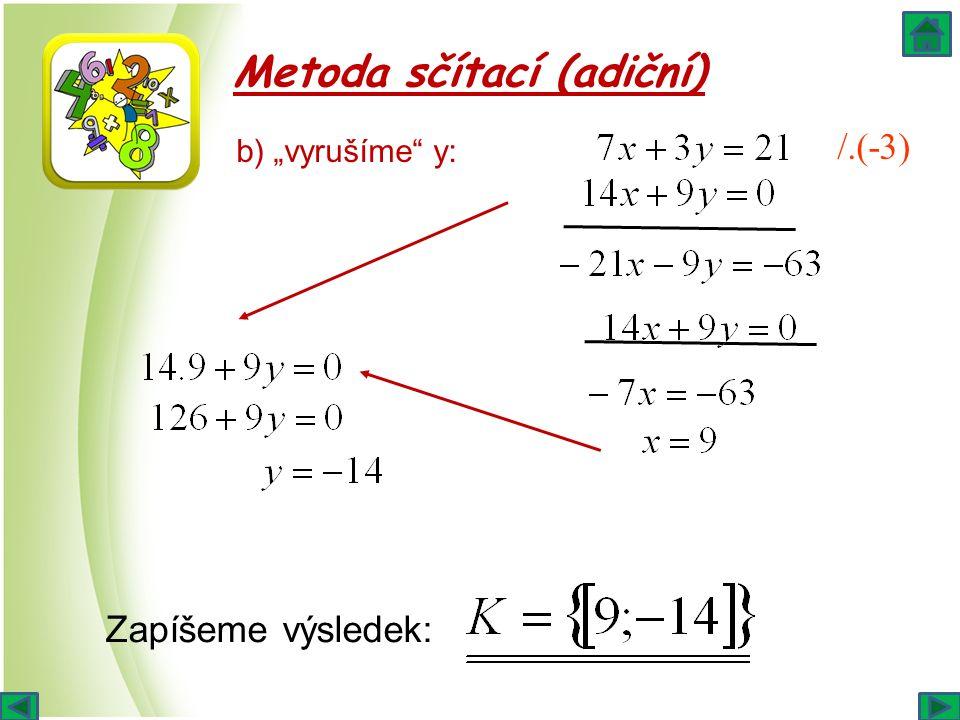 """Metoda sčítací (adiční) /.(-3) b) """"vyrušíme"""" y: Zapíšeme výsledek:"""