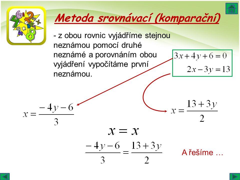 Metoda srovnávací (komparační) - z obou rovnic vyjádříme stejnou neznámou pomocí druhé neznámé a porovnáním obou vyjádření vypočítáme první neznámou.