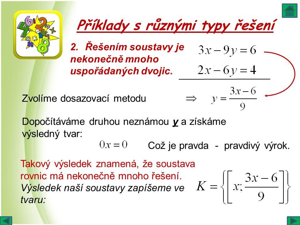 Příklady s různými typy řešení 2.Řešením soustavy je nekonečně mnoho uspořádaných dvojic. Zvolíme dosazovací metodu Dopočítáváme druhou neznámou y a z