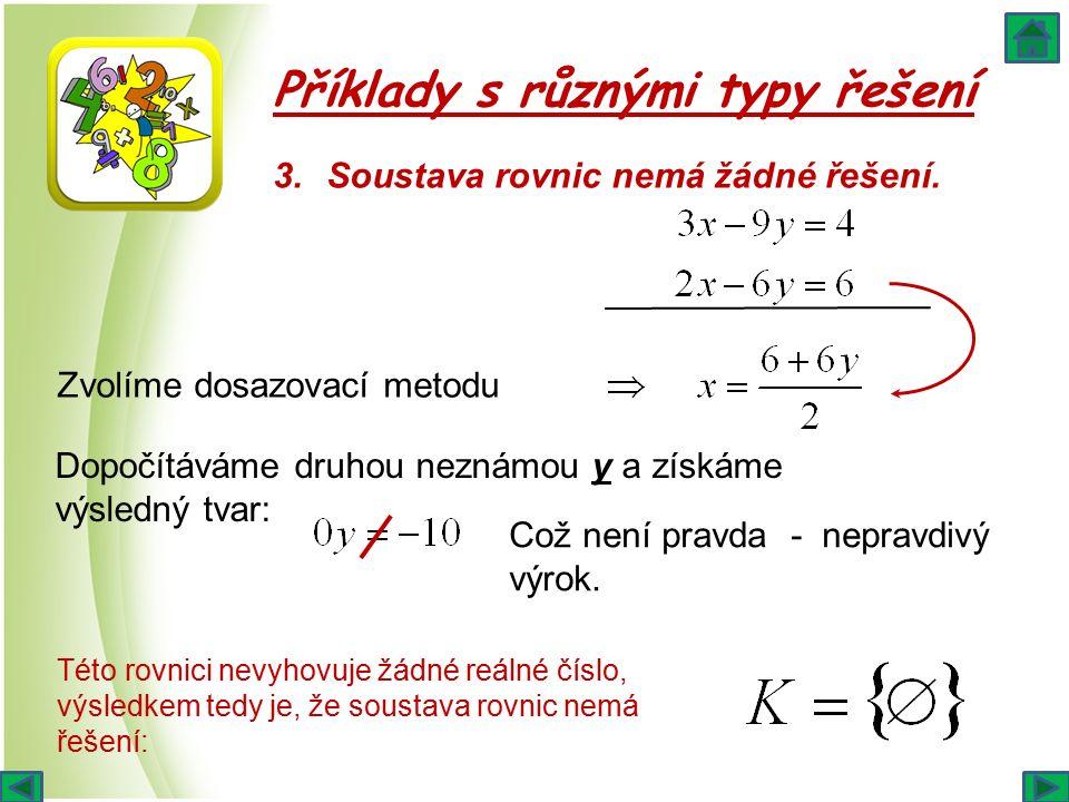 Příklady s různými typy řešení 3.Soustava rovnic nemá žádné řešení. Zvolíme dosazovací metodu Dopočítáváme druhou neznámou y a získáme výsledný tvar: