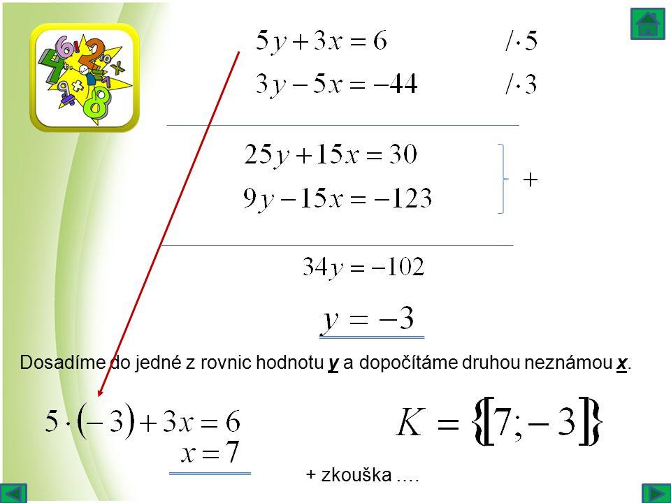 Dosadíme do jedné z rovnic hodnotu y a dopočítáme druhou neznámou x. + zkouška ….