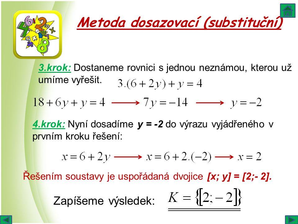 Metoda dosazovací (substituční) 3.krok: Dostaneme rovnici s jednou neznámou, kterou už umíme vyřešit. 4.krok: Nyní dosadíme y = -2 do výrazu vyjádřené