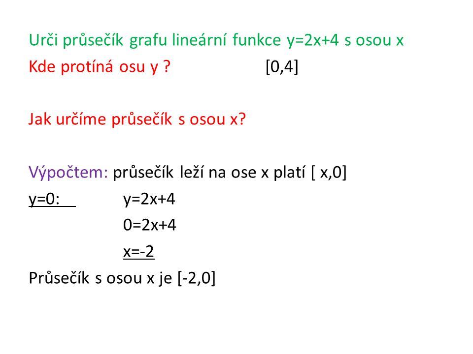 Urči průsečík grafu lineární funkce y=2x+4 s osou x Kde protíná osu y [0,4] Jak určíme průsečík s osou x.