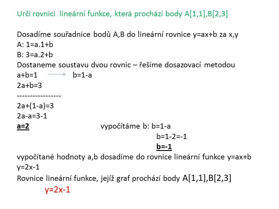 Urči rovnici lineární funkce, která prochází body A[1,1],B[2,3] Dosadíme souřadnice bodů A,B do lineární rovnice y=ax+b za x,y A: 1=a.1+b B: 3=a.2+b Dostaneme soustavu dvou rovnic – řešíme dosazovací metodou a+b=1b=1-a 2a+b=3 ----------------- 2a+(1-a)=3 2a-a=3-1 a=2vypočítáme b: b=1-a b=1-2=-1 b=-1 vypočítané hodnoty a,b dosadíme do rovnice lineární funkce y=ax+b y=2x-1 Rovnice lineární funkce, jejíž graf prochází body A[1,1],B[2,3] y=2x-1