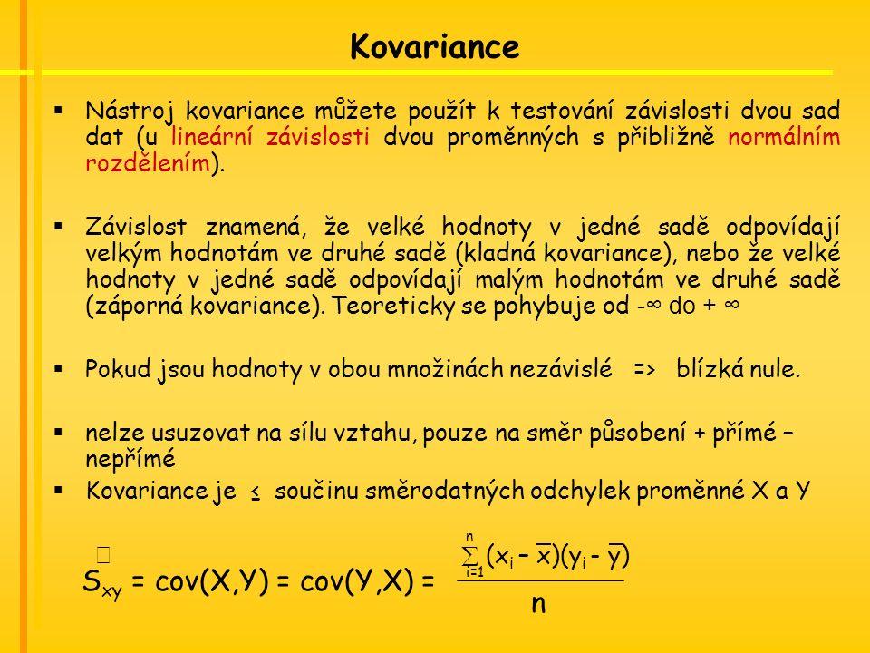 Kovariance  Nástroj kovariance můžete použít k testování závislosti dvou sad dat (u lineární závislosti dvou proměnných s přibližně normálním rozdělením).