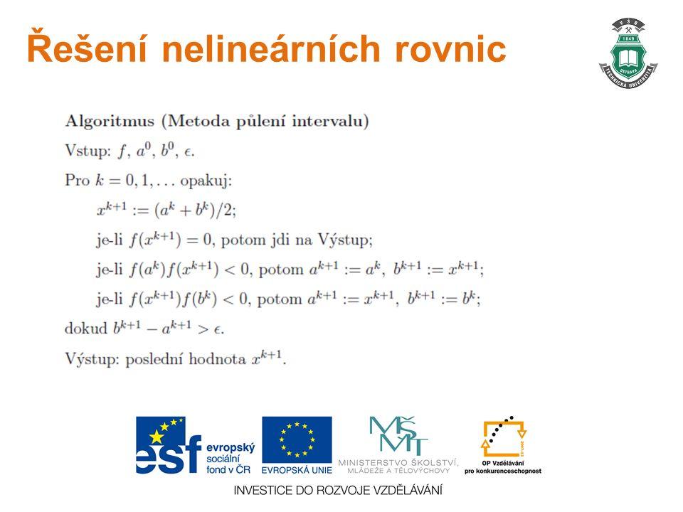 Řešení nelineárních rovnic
