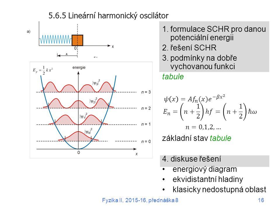 5.6.5 Lineární harmonický oscilátor 1.formulace SCHR pro danou potenciální energii 2.řešení SCHR 3.podmínky na dobře vychovanou funkci tabule základní stav tabule 4.