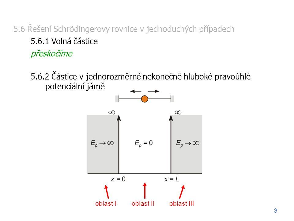 5.6 Řešení Schrödingerovy rovnice v jednoduchých případech 5.6.1 Volná částice přeskočíme 5.6.2 Částice v jednorozměrné nekonečně hluboké pravoúhlé po