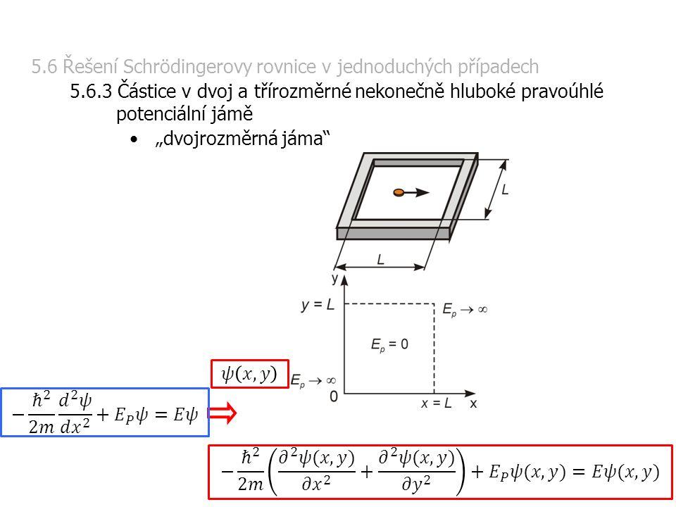 """5.6 Řešení Schrödingerovy rovnice v jednoduchých případech 5.6.3 Částice v dvoj a třírozměrné nekonečně hluboké pravoúhlé potenciální jámě """"dvojrozměrná jáma"""