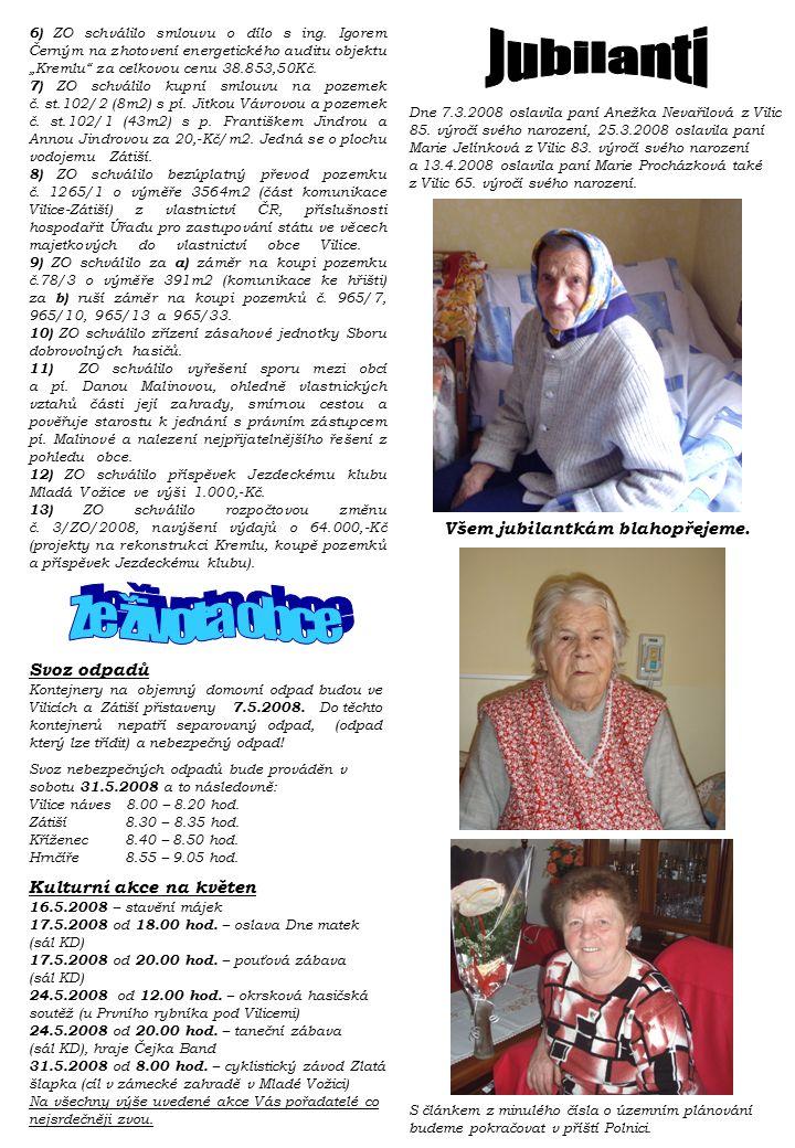 Dne 7.3.2008 oslavila paní Anežka Nevařilová z Vilic 85. výročí svého narození, 25.3.2008 oslavila paní Marie Jelínková z Vilic 83. výročí svého naroz