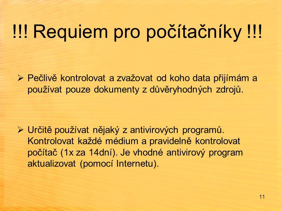 !!! Requiem pro počítačníky !!!  Pečlivě kontrolovat a zvažovat od koho data přijímám a používat pouze dokumenty z důvěryhodných zdrojů.  Určitě pou