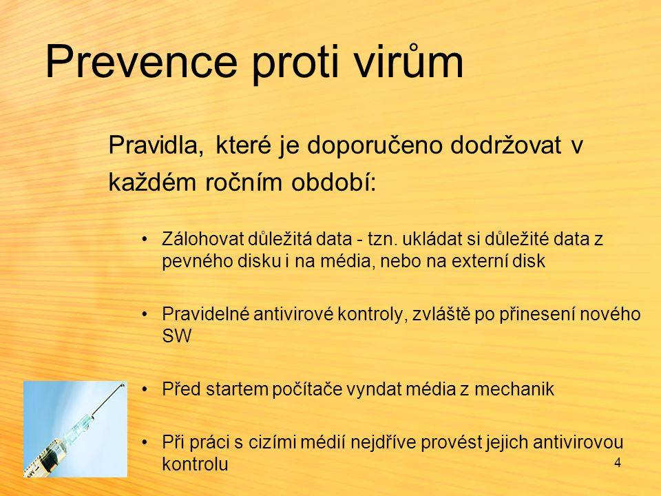 Antivirové programy  programy, které slouží k vyhledávání a ničení virů - některé programy umí viry jen hledat, ale neumí je odstranit - antivirové programy  jelikož viry napadají pouze spustitelné soubory (čili Exe, Com), kontrolují antivirové programy pouze tyto soubory  viry mohou napadat i jiná místa na disku, ale o tom až někdy jindy  programy pro jednorázovou kontrolu disku - po svém spuštění program umožní zkontrolovat disk či disketu a poté je opět ukončen  programy pro průběžnou kontrolu disku (tzv.
