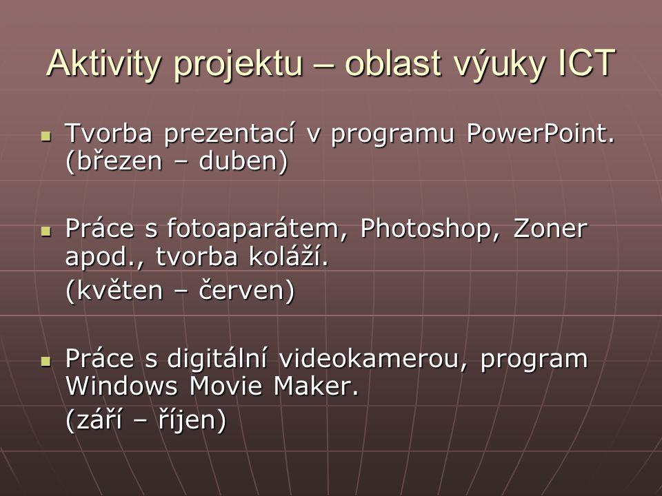 Aktivity projektu – oblast výuky ICT Tvorba prezentací v programu PowerPoint.