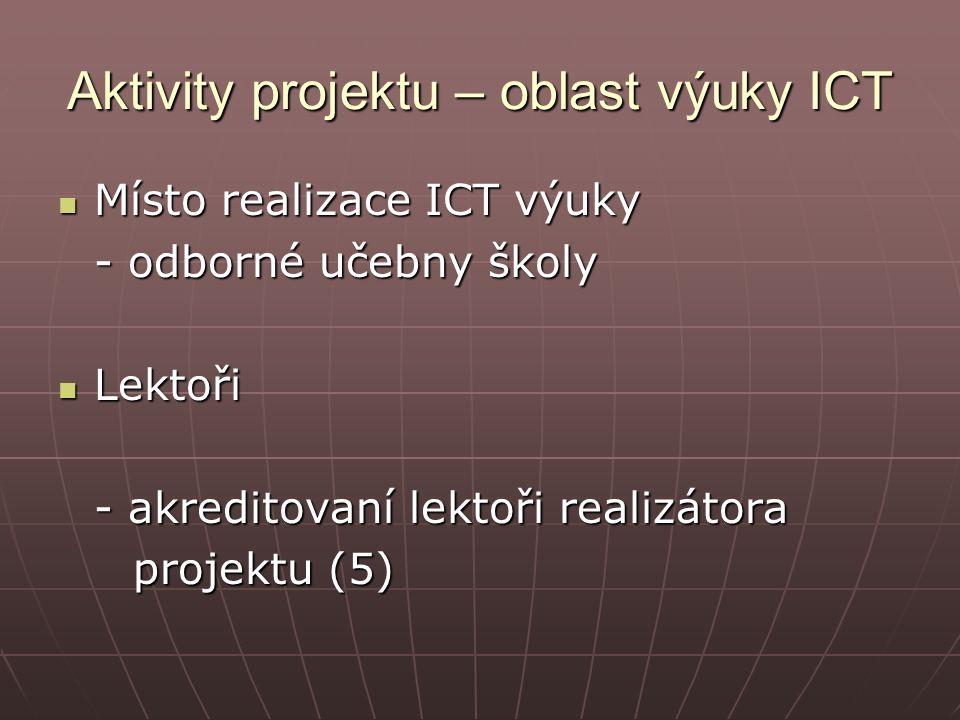 Aktivity projektu – oblast výuky ICT Místo realizace ICT výuky Místo realizace ICT výuky - odborné učebny školy Lektoři Lektoři - akreditovaní lektoři realizátora projektu (5) projektu (5)