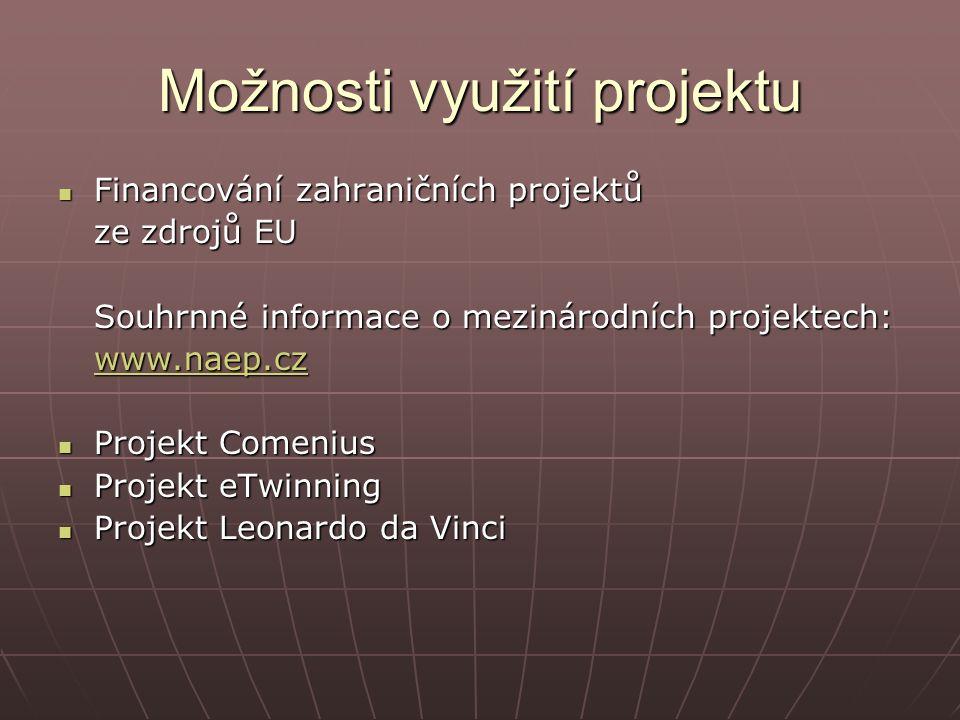 Možnosti využití projektu Financování zahraničních projektů Financování zahraničních projektů ze zdrojů EU Souhrnné informace o mezinárodních projektech: www.naep.cz Projekt Comenius Projekt Comenius Projekt eTwinning Projekt eTwinning Projekt Leonardo da Vinci Projekt Leonardo da Vinci