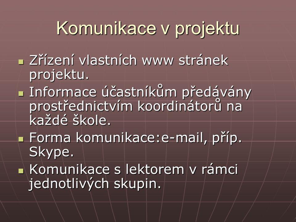Komunikace v projektu Zřízení vlastních www stránek projektu.