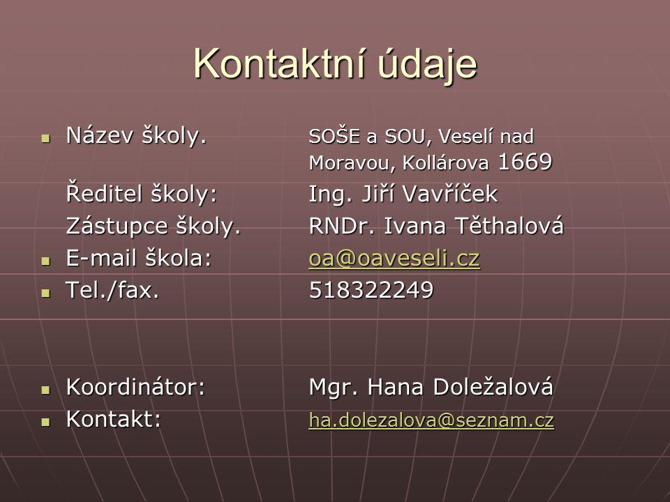 Kontaktní údaje Název školy. SOŠE a SOU, Veselí nad Moravou, Kollárova 1669 Název školy.