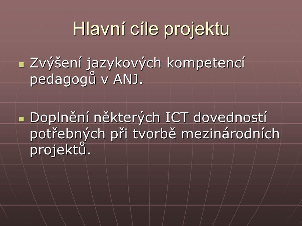 Hlavní cíle projektu Zvýšení jazykových kompetencí pedagogů v ANJ.