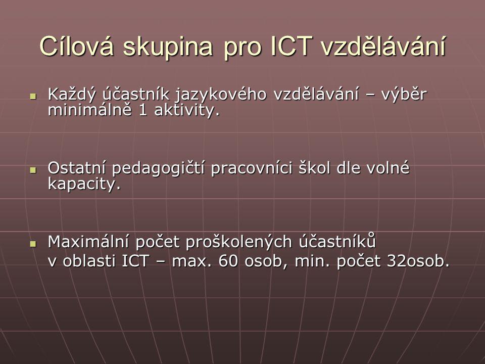 Cílová skupina pro ICT vzdělávání Každý účastník jazykového vzdělávání – výběr minimálně 1 aktivity.