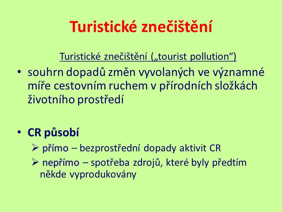"""Turistické znečištění Turistické znečištění (""""tourist pollution ) souhrn dopadů změn vyvolaných ve významné míře cestovním ruchem v přírodních složkách životního prostředí CR působí přímo  přímo – bezprostřední dopady aktivit CR nepřímo  nepřímo – spotřeba zdrojů, které byly předtím někde vyprodukovány"""