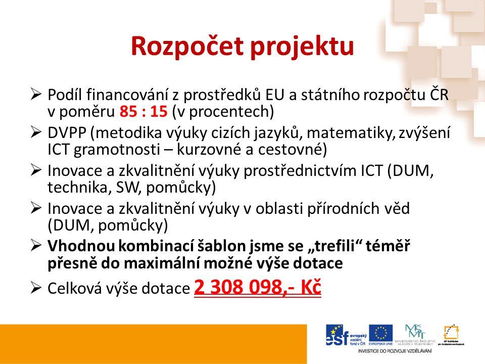 Rozpočet projektu  Podíl financování z prostředků EU a státního rozpočtu ČR v poměru 85 : 15 (v procentech)  DVPP (metodika výuky cizích jazyků, mat