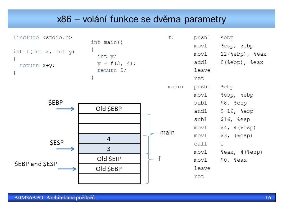 16A0M36APO Architektura počítačů x86 – volání funkce se dvěma parametry #include int f(int x, int y) { return x+y; } f: pushl %ebp movl %esp, %ebp movl 12(%ebp), %eax addl 8(%ebp), %eax leave ret main: pushl %ebp movl %esp, %ebp subl $8, %esp andl $-16, %esp subl $16, %esp movl $4, 4(%esp) movl $3, (%esp) call f movl %eax, 4(%esp) movl $0, %eax leave ret Old $EBP $ESP 4 3 $EBP $EBP and $ESP main f Old $EBP Old $EIP int main() { int y; y = f(3, 4); return 0; }