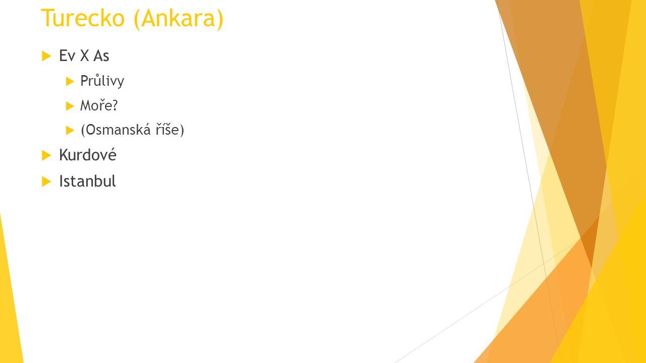 Turecko (Ankara)  Ev X As  Průlivy  Moře?  (Osmanská říše)  Kurdové  Istanbul