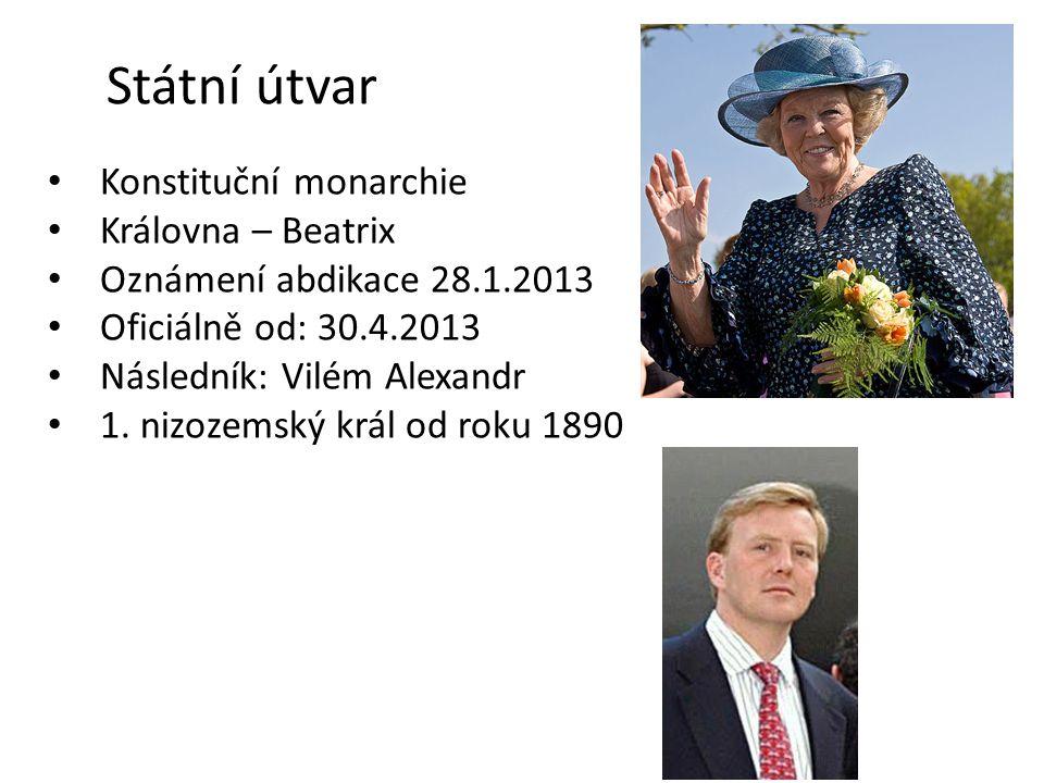 Státní útvar Konstituční monarchie Královna – Beatrix Oznámení abdikace 28.1.2013 Oficiálně od: 30.4.2013 Následník: Vilém Alexandr 1. nizozemský král