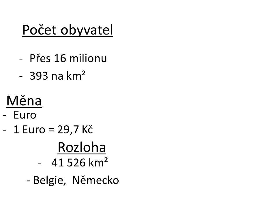 -Přes 16 milionu -393 na km² Počet obyvatel Měna -Euro -1 Euro = 29,7 Kč Rozloha -41 526 km² - Belgie, Německo