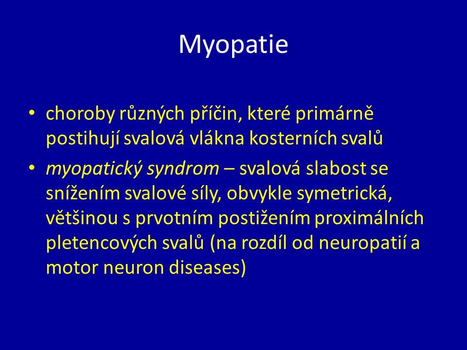 Myopatie choroby různých příčin, které primárně postihují svalová vlákna kosterních svalů myopatický syndrom – svalová slabost se snížením svalové síly, obvykle symetrická, většinou s prvotním postižením proximálních pletencových svalů (na rozdíl od neuropatií a motor neuron diseases)
