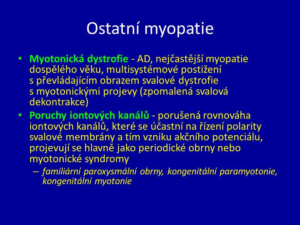 Ostatní myopatie Myotonická dystrofie - AD, nejčastější myopatie dospělého věku, multisystémové postižení s převládajícím obrazem svalové dystrofie s myotonickými projevy (zpomalená svalová dekontrakce) Poruchy iontových kanálů - porušená rovnováha iontových kanálů, které se účastní na řízení polarity svalové membrány a tím vzniku akčního potenciálu, projevují se hlavně jako periodické obrny nebo myotonické syndromy – familiární paroxysmální obrny, kongenitální paramyotonie, kongenitální myotonie
