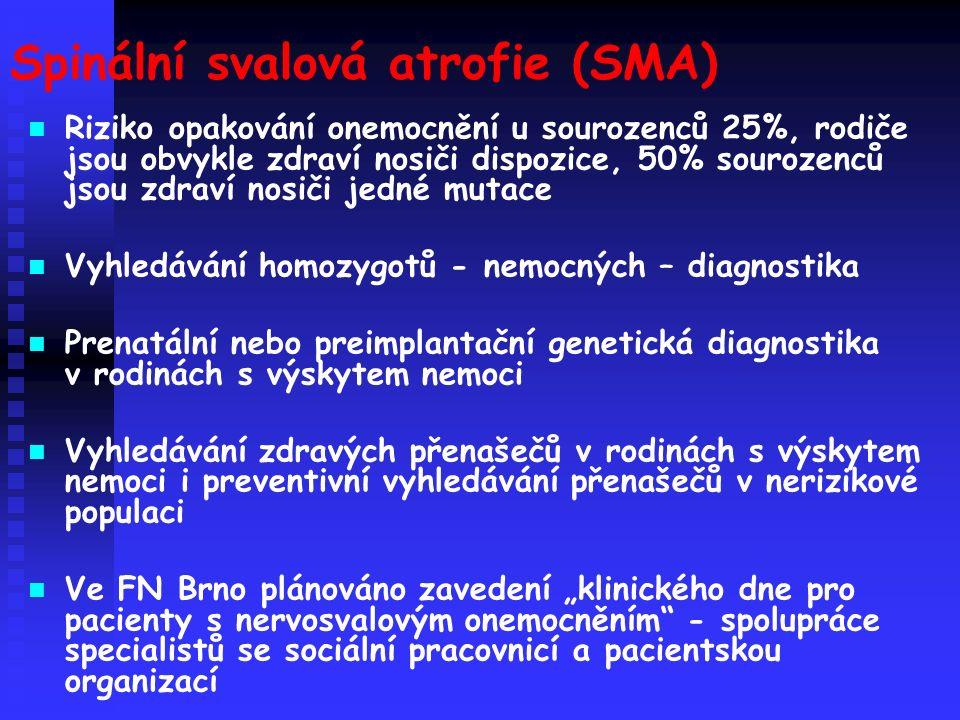 """Spinální svalová atrofie (SMA) Riziko opakování onemocnění u sourozenců 25%, rodiče jsou obvykle zdraví nosiči dispozice, 50% sourozenců jsou zdraví nosiči jedné mutace Vyhledávání homozygotů - nemocných – diagnostika Prenatální nebo preimplantační genetická diagnostika v rodinách s výskytem nemoci Vyhledávání zdravých přenašečů v rodinách s výskytem nemoci i preventivní vyhledávání přenašečů v nerizikové populaci Ve FN Brno plánováno zavedení """"klinického dne pro pacienty s nervosvalovým onemocněním - spolupráce specialistů se sociální pracovnicí a pacientskou organizací"""