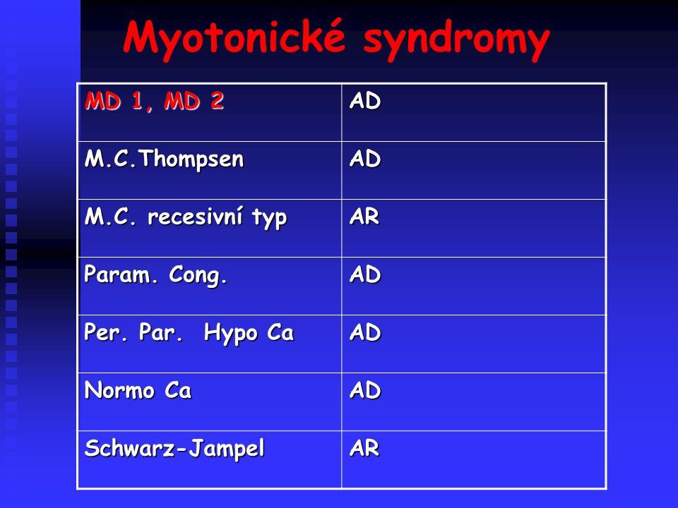 Myotonické syndromy MD 1, MD 2 AD M.C.ThompsenAD M.C.