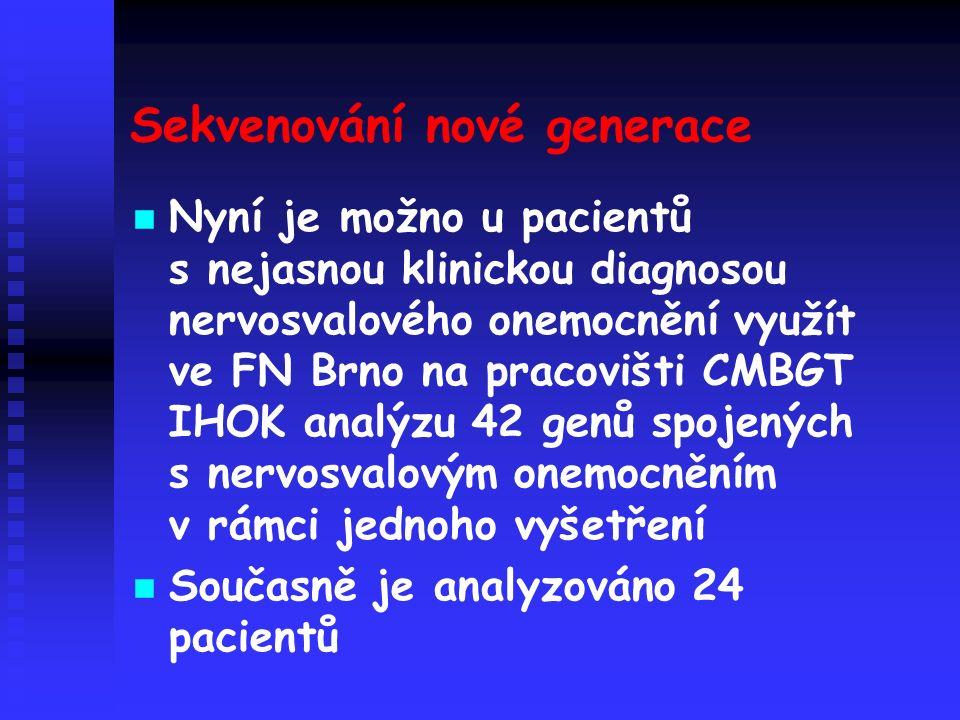 Sekvenování nové generace Nyní je možno u pacientů s nejasnou klinickou diagnosou nervosvalového onemocnění využít ve FN Brno na pracovišti CMBGT IHOK analýzu 42 genů spojených s nervosvalovým onemocněním v rámci jednoho vyšetření Současně je analyzováno 24 pacientů