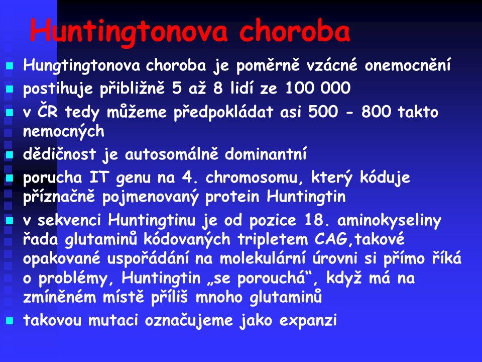 Huntingtonova choroba Hungtingtonova choroba je poměrně vzácné onemocnění postihuje přibližně 5 až 8 lidí ze 100 000 v ČR tedy můžeme předpokládat asi 500 - 800 takto nemocných dědičnost je autosomálně dominantní porucha IT genu na 4.
