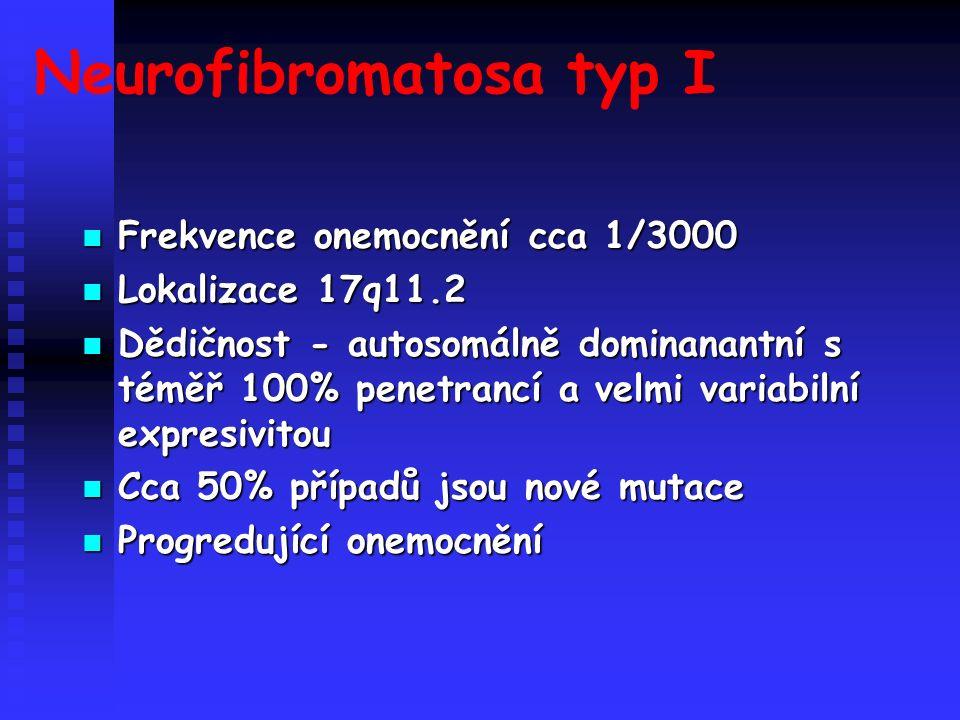 Neurofibromatosa typ I Frekvence onemocnění cca 1/3000 Frekvence onemocnění cca 1/3000 Lokalizace 17q11.2 Lokalizace 17q11.2 Dědičnost - autosomálně dominanantní s téměř 100% penetrancí a velmi variabilní expresivitou Dědičnost - autosomálně dominanantní s téměř 100% penetrancí a velmi variabilní expresivitou Cca 50% případů jsou nové mutace Cca 50% případů jsou nové mutace Progredující onemocnění Progredující onemocnění
