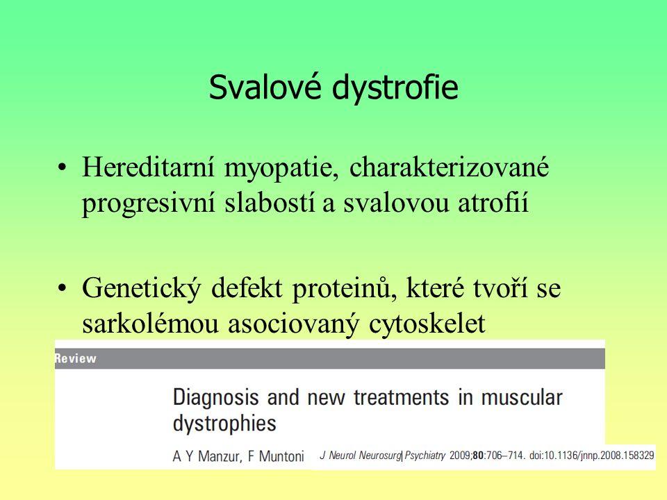 Svalové dystrofie Hereditarní myopatie, charakterizované progresivní slabostí a svalovou atrofií Genetický defekt proteinů, které tvoří se sarkolémou