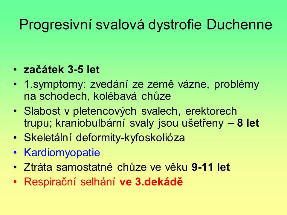 Progresivní svalová dystrofie Duchenne začátek 3-5 let 1.symptomy: zvedání ze země vázne, problémy na schodech, kolébavá chůze Slabost v pletencových