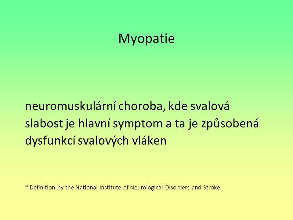 Myopatie neuromuskulární choroba, kde svalová slabost je hlavní symptom a ta je způsobená dysfunkcí svalových vláken * Definition by the National Inst
