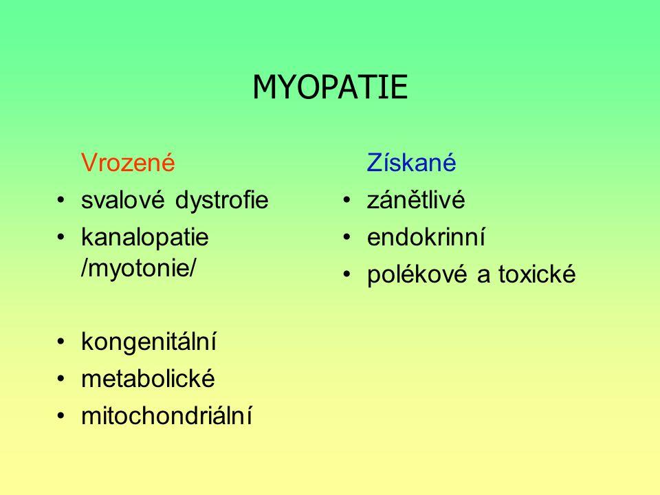 MYOPATIE Vrozené svalové dystrofie kanalopatie /myotonie/ kongenitální metabolické mitochondriální Získané zánětlivé endokrinní polékové a toxické