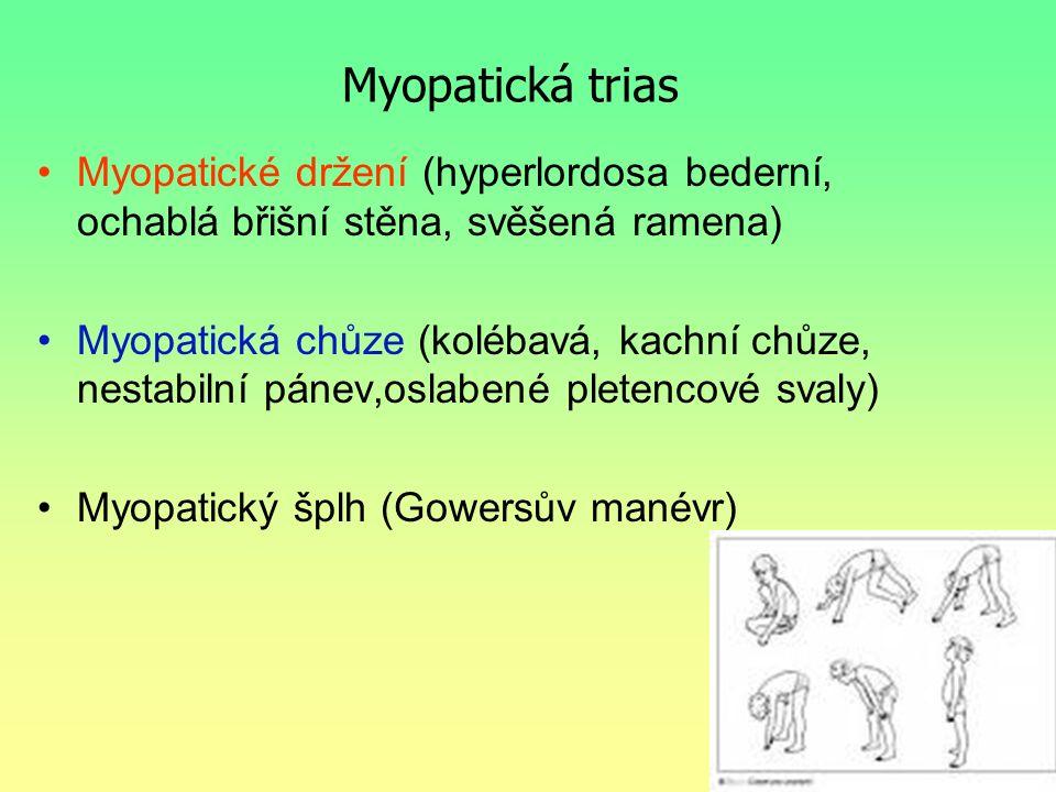 Myopatická trias Myopatické držení (hyperlordosa bederní, ochablá břišní stěna, svěšená ramena) Myopatická chůze (kolébavá, kachní chůze, nestabilní p