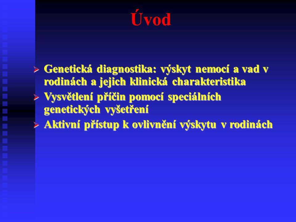 Přesná klinická diagnóza  Anamnéza  Genealogie  Další vyšetření laboratorní, rtg, neurologická….